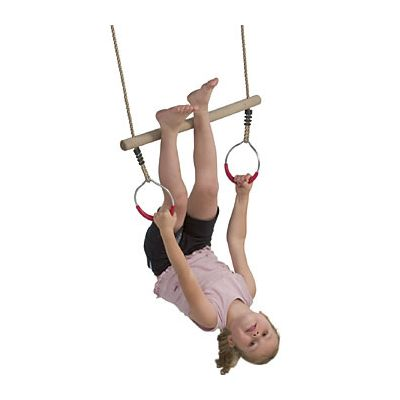 Wooden Trapeze with Plastic Rings
